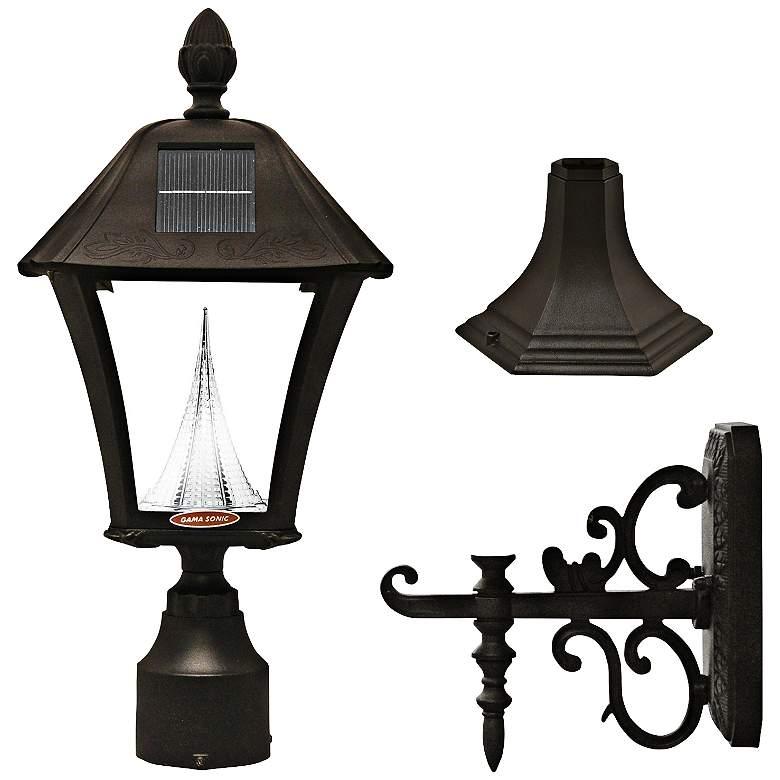 "Baytown Black 19"" High Tri-Mount Solar LED Outdoor Light"