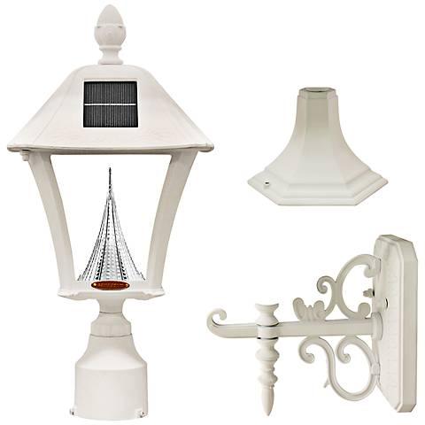 "Baytown White 19"" High Tri-Mount Solar LED Outdoor Light"