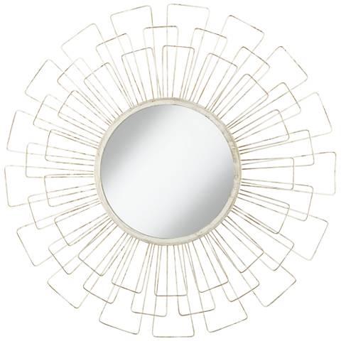 "Adelino Distressed White 33 1/2"" Round Sunburst Wall Mirror"