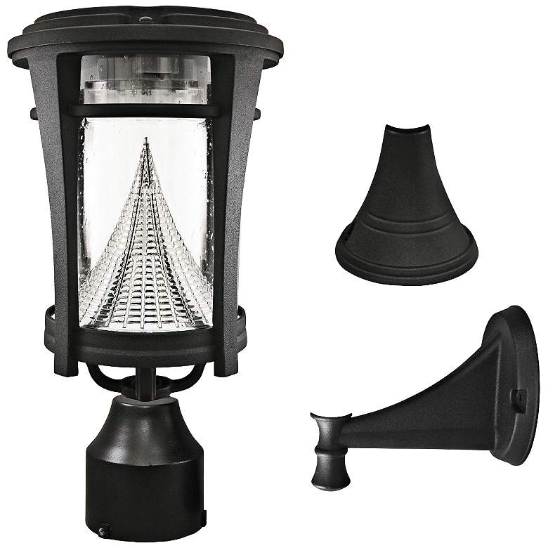 "Aurora Black 13"" High Tri-Mount Solar LED Outdoor Light"