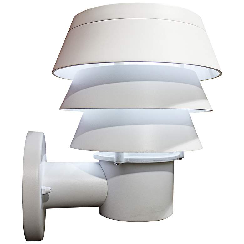 """Triple Tier 10"""" High White Solar LED Outdoor Wall Light"""