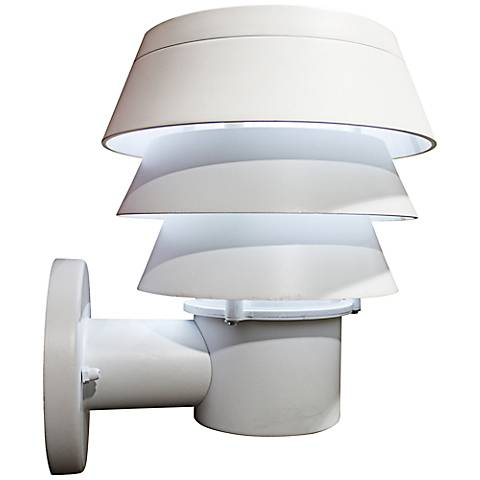 "Triple Tier 10"" High White Solar LED Outdoor Wall Light"