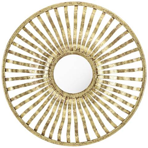 "Pestrina Gold Wave 22"" Round Wall Mirror"