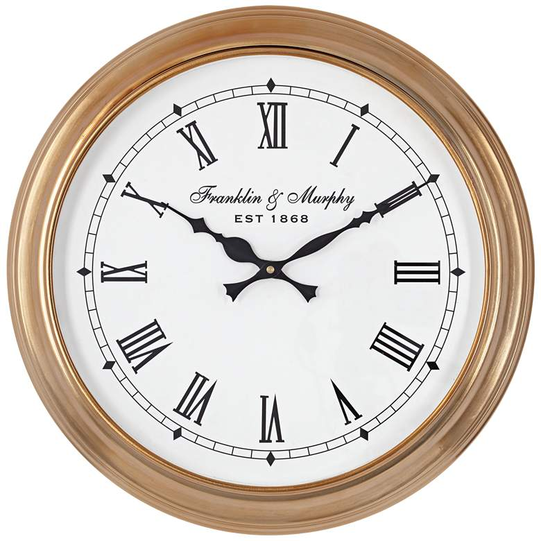 "Sherrard Light Brown 14"" Round Wall Clock"