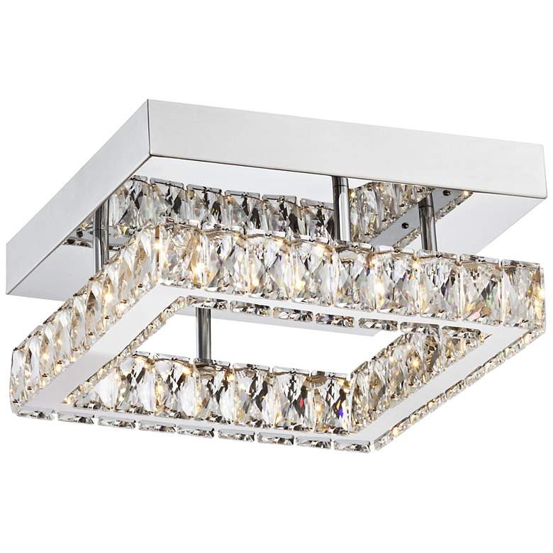 """Patricia Crystal Square 12"""" Wide Chrome LED Ceiling Light"""