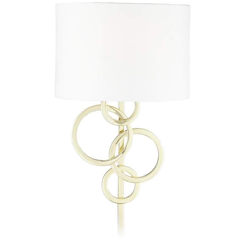 Possini Euro Design Circles Polished Brass Plug-In Wall Lamp