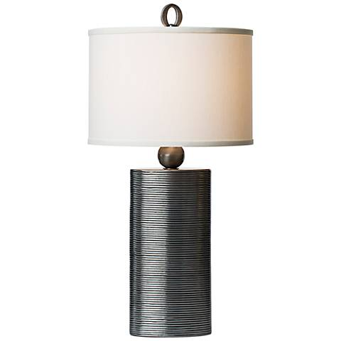 Thumprints Reflection Pewter Grooved Column Table Lamp