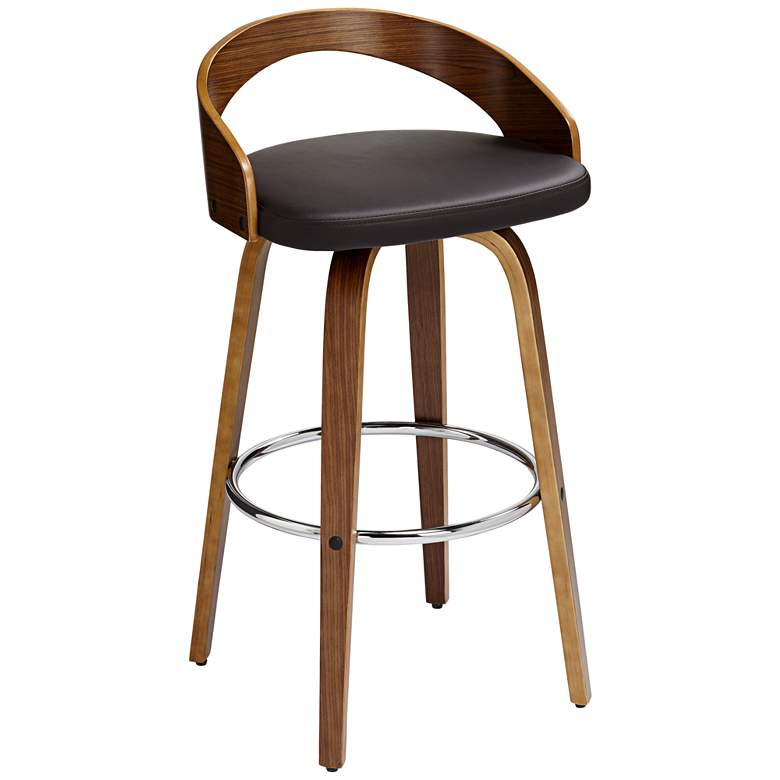 "Gratto 29 1/4"" Chocolate Brown Faux Leather Swivel Bar Stool"