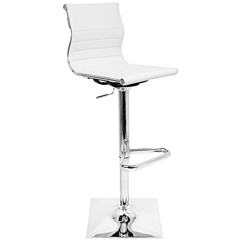 Awe Inspiring Master White Faux Leather Chrome Adjustable Swivel Bar Stool Evergreenethics Interior Chair Design Evergreenethicsorg