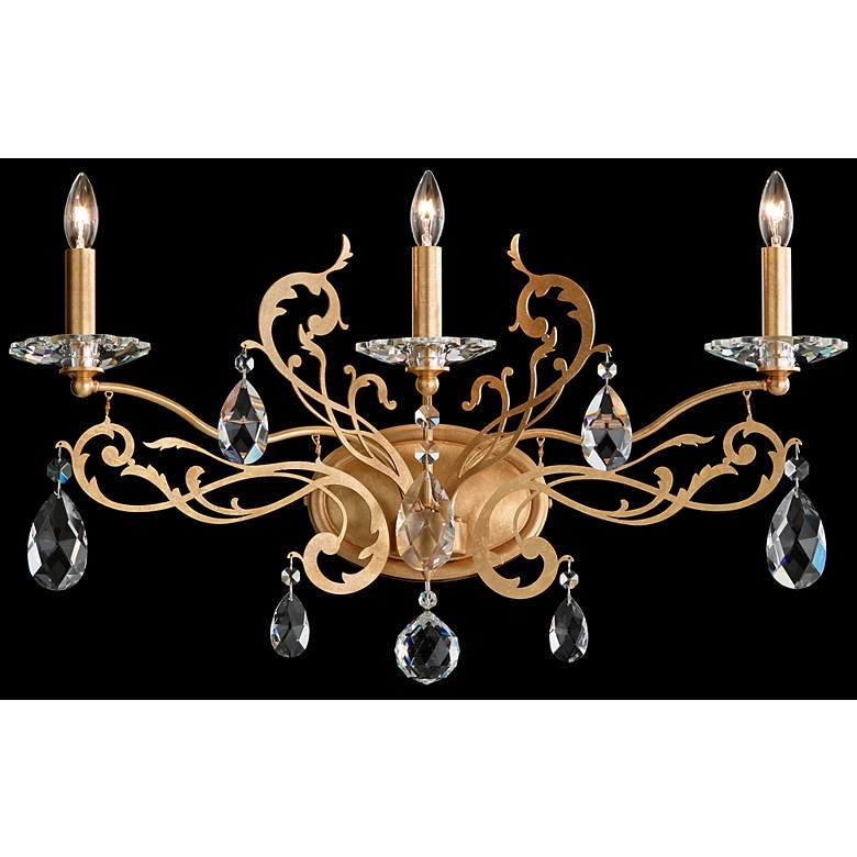 "Schonbek Filigrae 15""H French Gold 3-Light Wall Sconce"