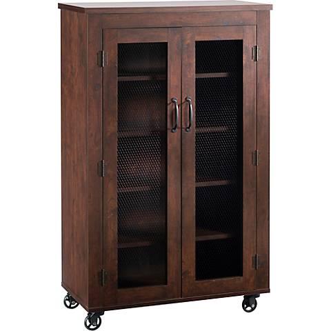 Weaver Vintage Walnut 5-Shelf Rolling Storage Cabinet