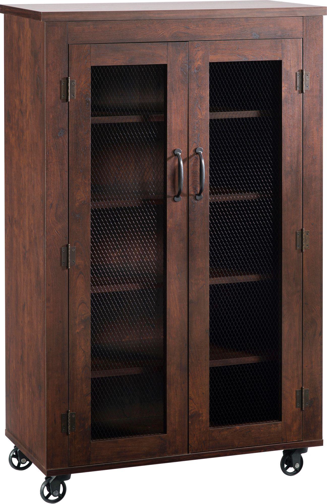 Weaver Vintage Walnut 5 Shelf Rolling Storage Cabinet