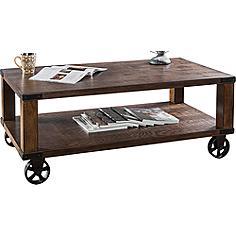 Veria Industrial-Modern Wheeled Dark Oak Coffee Table