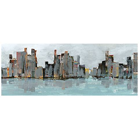 "Second City 63"" Wide Reverse Painted Glass Wall Art"