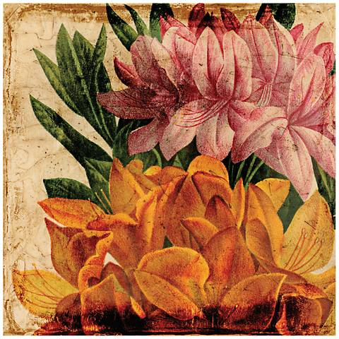 """Vibrant Floral I 40"""" Square Painted Glass Wall Art"""