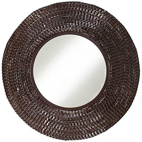 """Brigdon Crinkle Brown 24"""" Round Wall Mirror"""