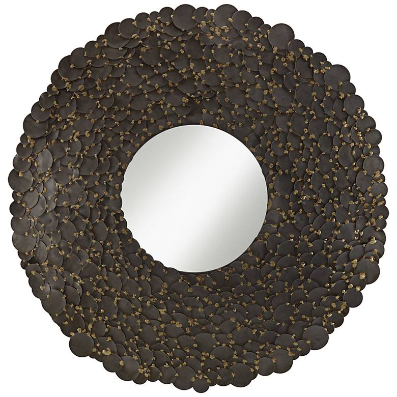 """Jeannette Pewter Gray Hammered Discs 30"""" Round Wall Mirror"""