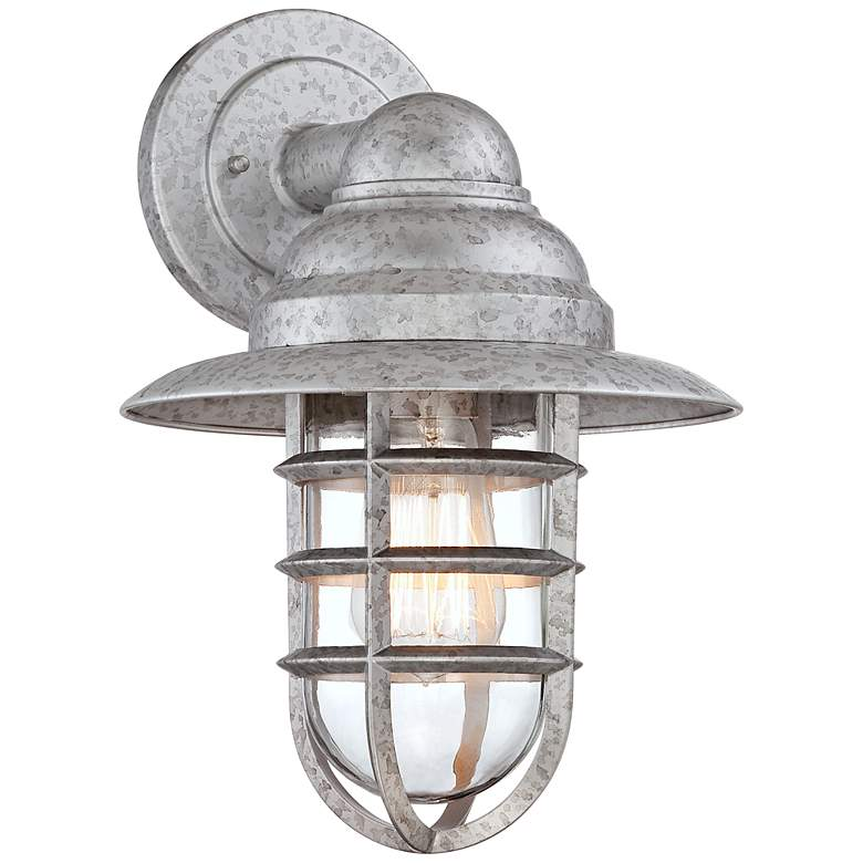"""Marlowe 13 1/4""""H Galvanized Hooded Cage Outdoor Wall Light"""