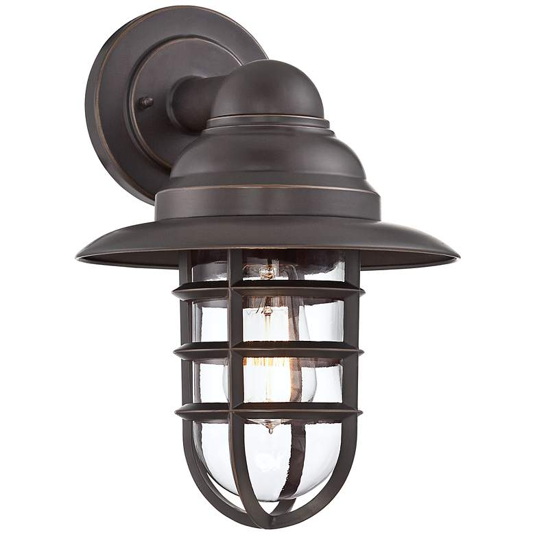 """Marlowe 13 1/4"""" High Bronze Hooded Cage Outdoor Wall Light"""