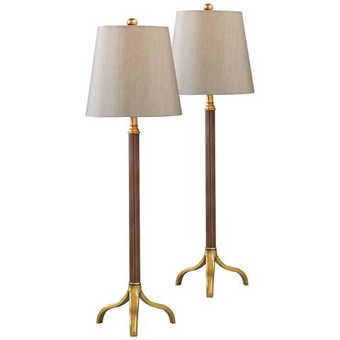 Port 68 Portobello Gold Leaf Buffet Table Lamp Set of 2