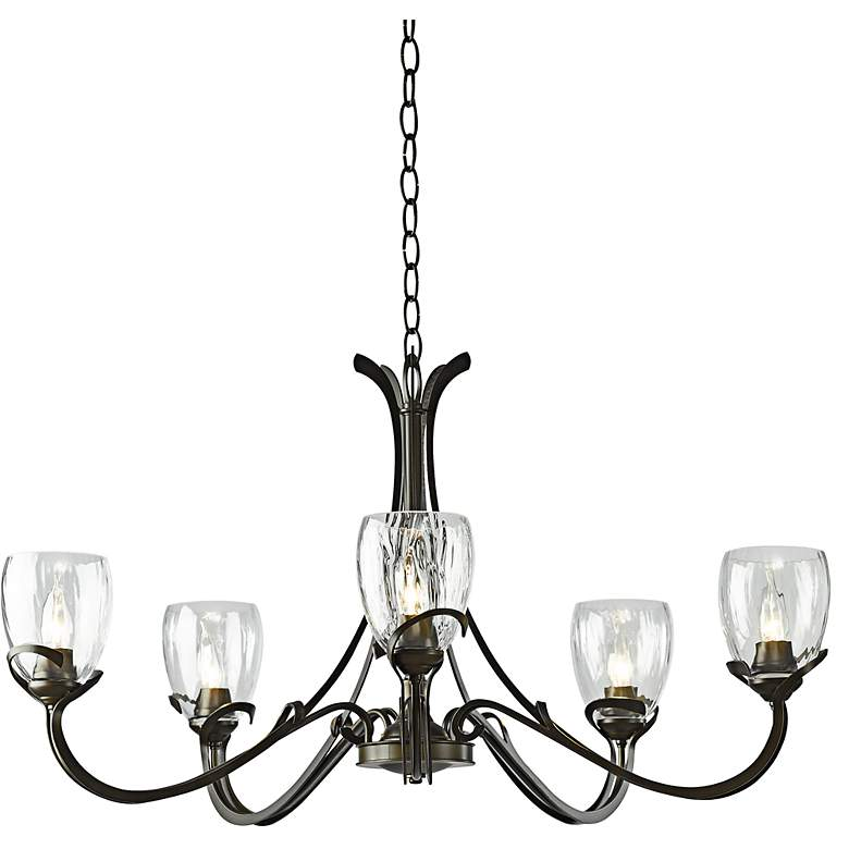 "Aubrey 33 3/4"" Wide Dark Smoke Chandelier w/ Water Glass"