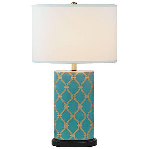 Port 68 Mateo Peacock Blue Porcelain Table Lamp