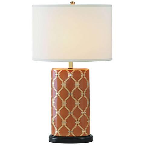 Port 68 Mateo Mandarin Orange Porcelain Table Lamp