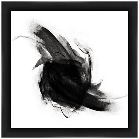 """Abstract White and Black 22"""" Square Framed Wall Art"""