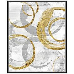 "Golden Circles I 37 3/4"" High Framed Canvas Wall Art"