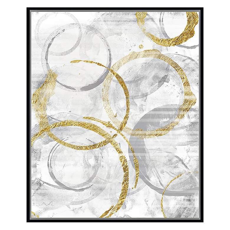 """Golden Circles II 37 3/4"""" High Framed Canvas Wall Art"""