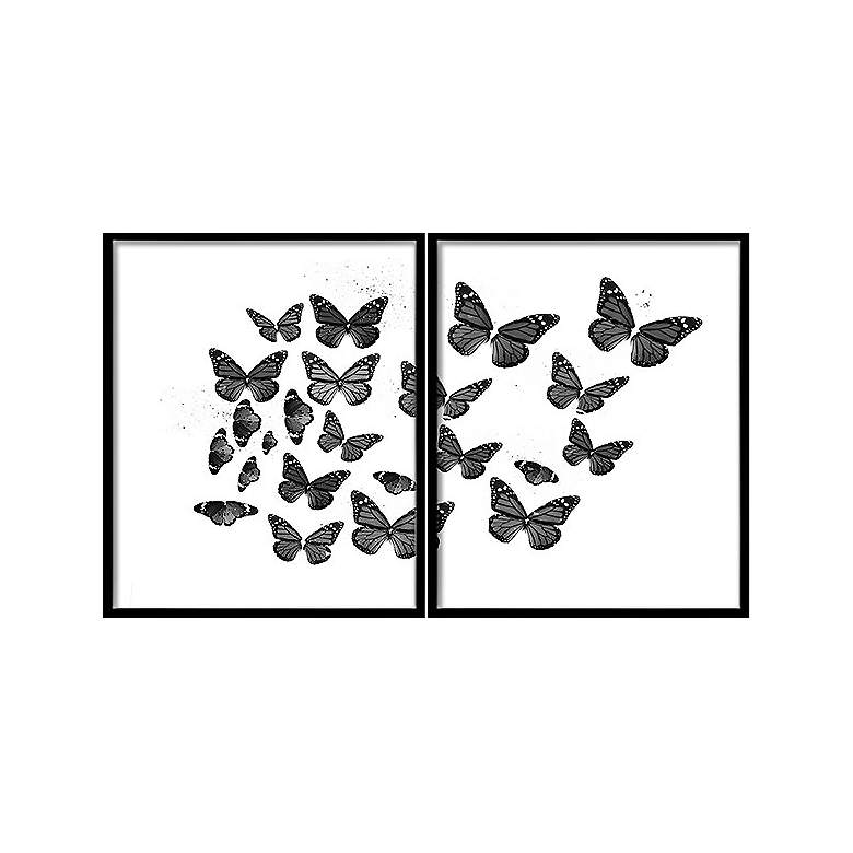 "Black and White Butterflies 2-Piece 42 3/4"" Wide"