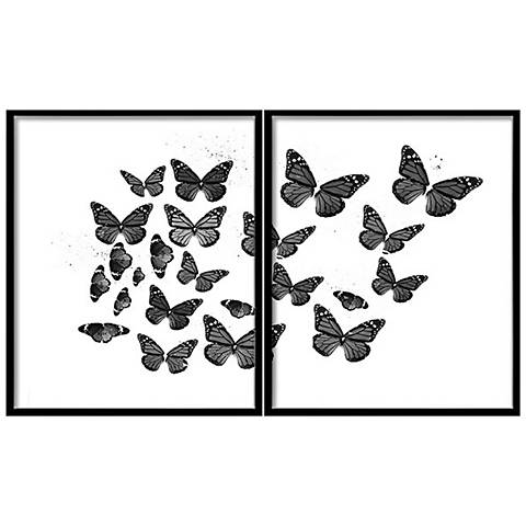 "Black and White Butterflies 2-Piece 42 3/4"" Wide Wall Art"
