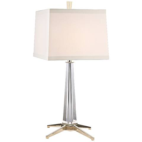 Hindeman Polished Nickel Table Lamp with White Shade