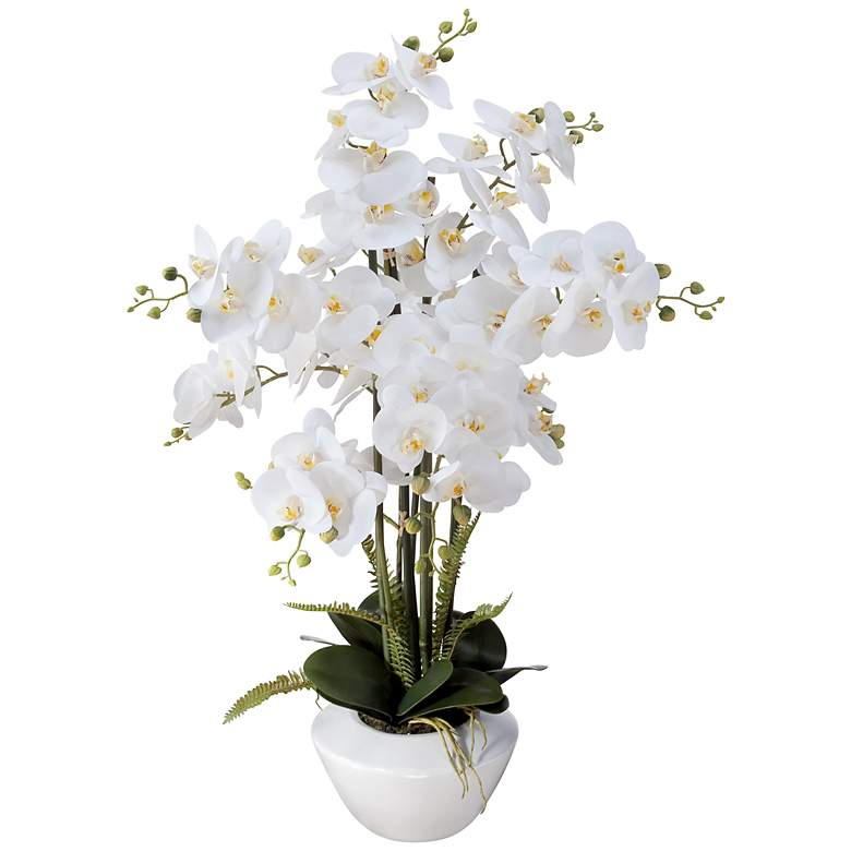 "White Phalaenopsis Orchid 29"" High Faux Floral Arrangement"