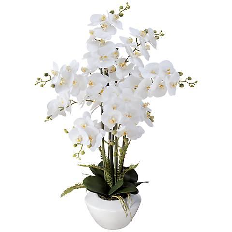 """White Phalaenopsis Orchid 29""""H Faux Floral Arrangement"""