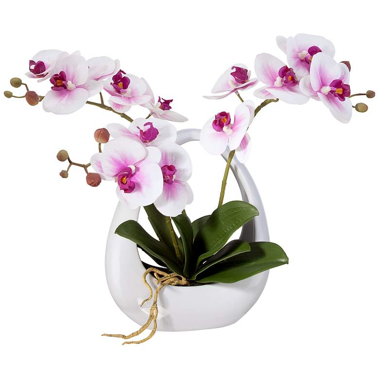 """Pink White Phalaenopsis Orchids 13"""" Faux Floral in White Pot"""