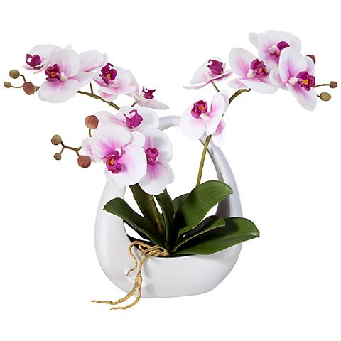 "Pink White Phalaenopsis Orchids 13"" Faux Floral in White Pot"