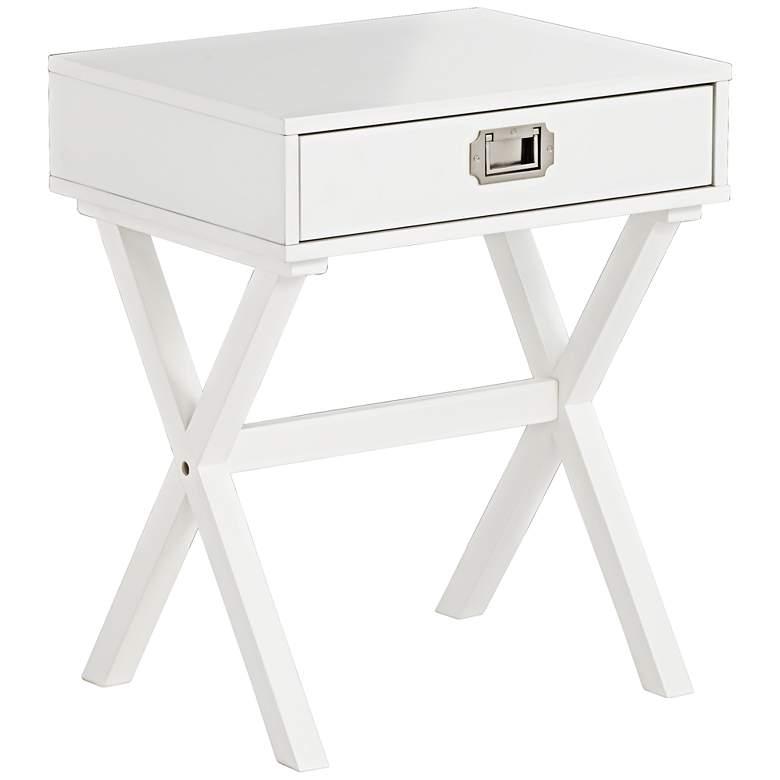 Stella X-Base White Wood Veneer 1-Drawer Side Table