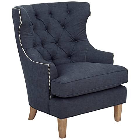 Reese Studio Indigo High-Back Accent Chair