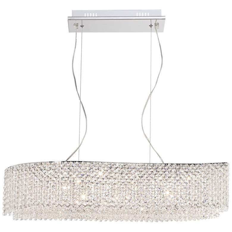 "Adali Curve 32"" Wide Clear Crystal Linear Chandelier"
