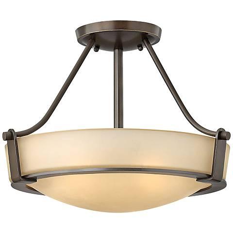 "Hinkley Hathaway Olde Bronze 16""W Amber Glass Ceiling Light"