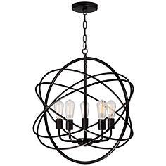 """Ellery 24 3/4"""" Wide LED 5-Light Bronze Sphere Pendant"""