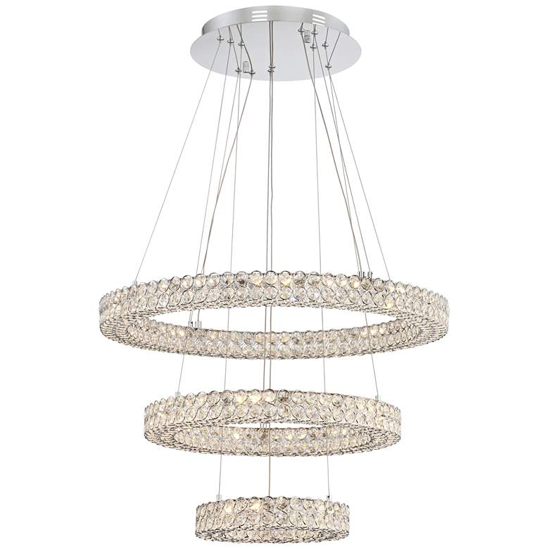 """Perriello 27 1/2""""W Tiered LED Crystal Ring Pendant"""