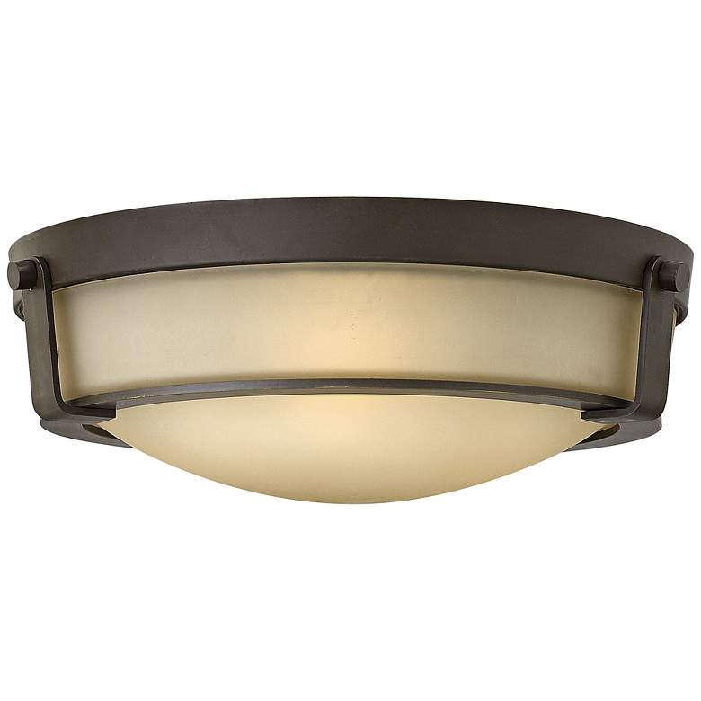 """Hathaway 16"""" Wide Olde Bronze Ceiling Light w/ Amber Glass"""