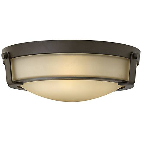 "Hathaway 16"" Wide Olde Bronze Ceiling Light w/ Amber Glass"
