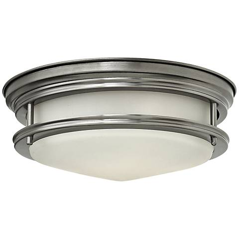 "Hinkley Hadley 12"" Wide Antique Nickel Opal Ceiling Light"