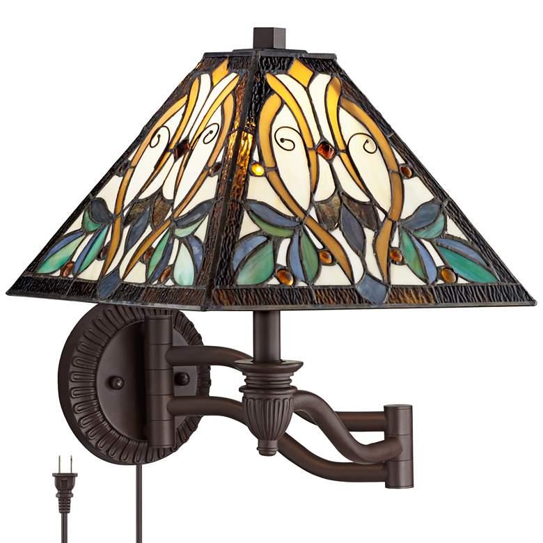 Robert Louis Tiffany Victorian Art Glass Swing Arm Wall Lamp