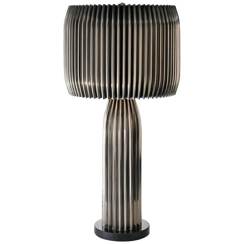 Crimp Antique Nickel Finish Modern Table Lamp