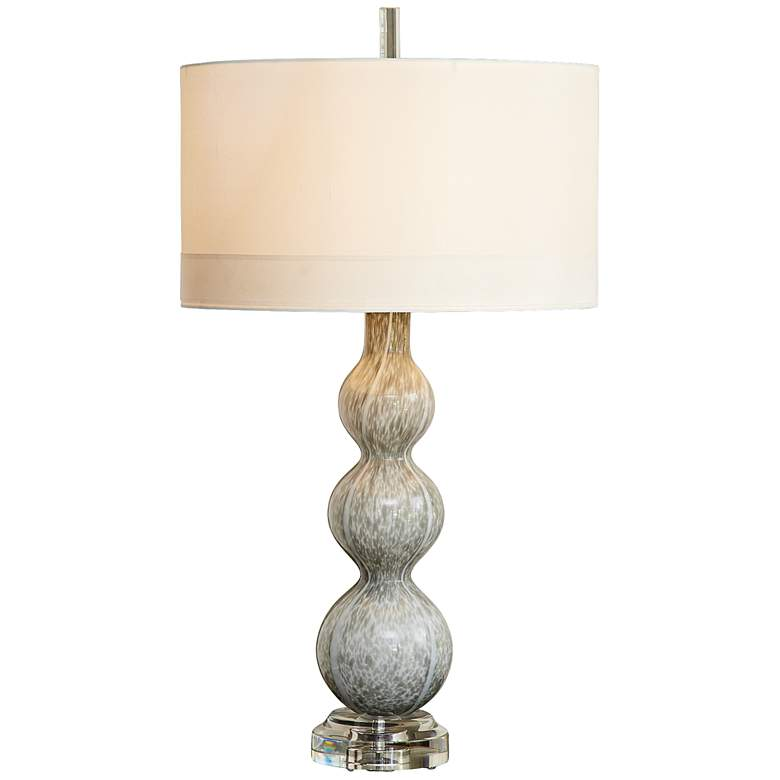 Cloud Light Gray Art Glass Table Lamp