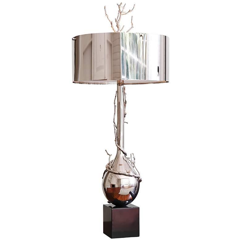 Twig Bulb Polished Nickel Table Lamp